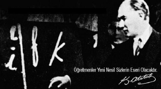 Başöğretmen Gazi Mustafa Kemal Atatürk'ün Harf İnkılabını Tanıtırken Çekilmiş Fotoğrafı
