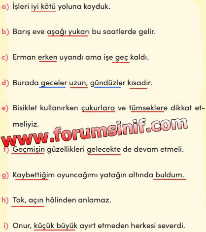 3. Sınıf Türkçe Ders Kitabı MEB Yayınları Sayfa 122Ders Kitabı Cevapları