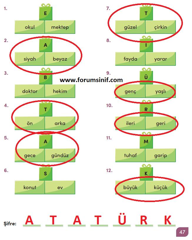 3. Sınıf Türkçe MEB Yayınları 47. SayfaDers Kitabı Cevapları