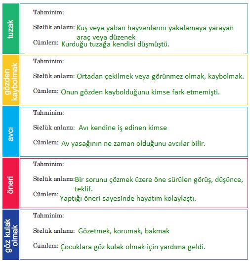 5. Sınıf Türkçe Ders Kitabı Anıttepe Yayıncılık Sayfa 195 Ders Kitabı Cevapları