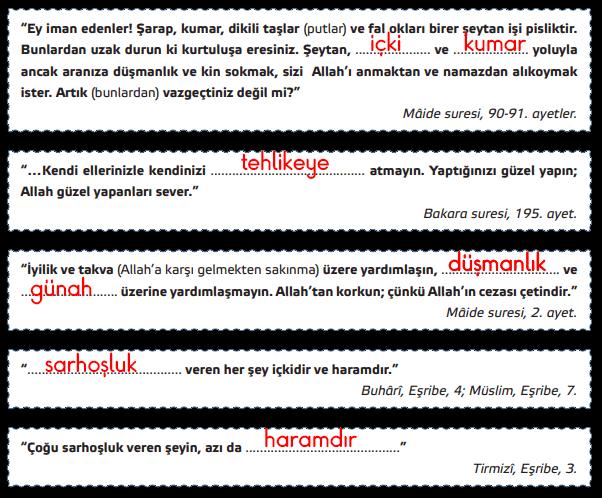 6. Sınıf Din Kültürü ve Ahlak Bilgisi GÜN Yayınları Sayfa 76 Ders Kitabı Cevapları