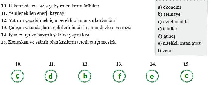 6. Sınıf Sosyal Bilgiler MEB Yayınları Sayfa 187 Ders Kitabı Cevapları