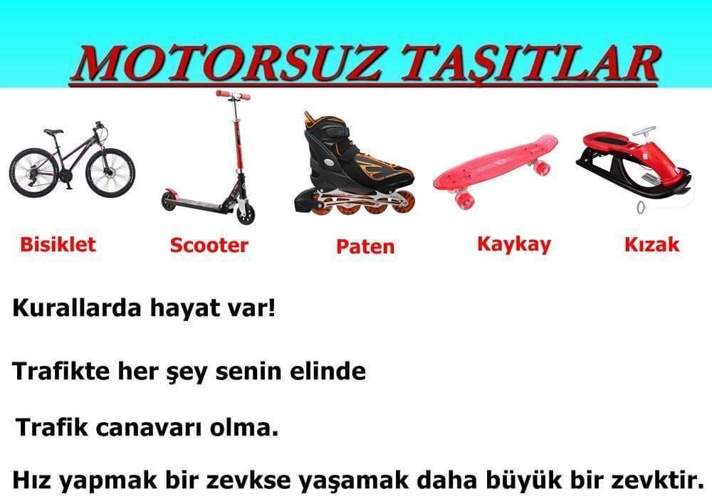 Motorsuz taşıtları güvenli kullanmanın gerekliliği ile ilgili bir afiş