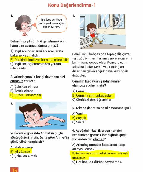 3. Sınıf Hayat Bilgisi MEB Yayınları Sayfa 16 Çalışma Kitabı Cevapları