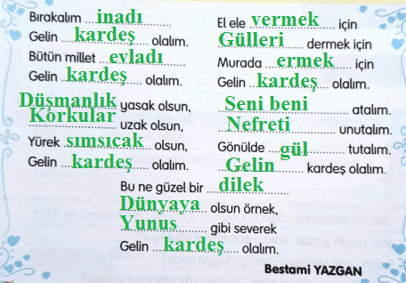 3. Sınıf Türkçe Gizem Yayıncılık Sayfa 33 Ders Kitabı Cevaplarıı