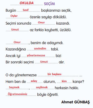 3. Sınıf Türkçe Gizem Yayıncılık Sayfa 77 Ders Kitabı Cevaplar