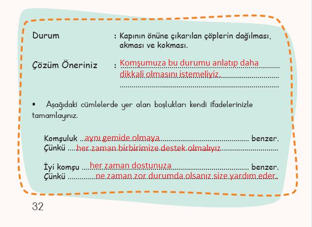 3. Sınıf Türkçe MEB Yayınları Sayfa 32 Ders Kitabı Cevapları