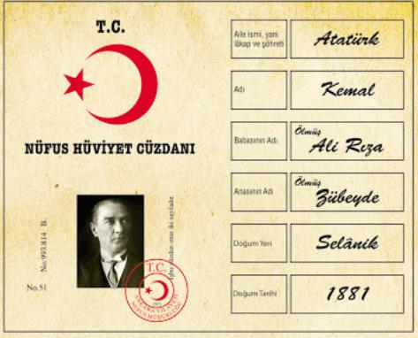 Atatürk'ün Kimlik Belgesi